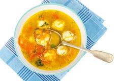 Sopa com cenoura, cebola, paprika e almôndegas Foto de Stock