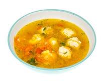 Sopa com cenoura, cebola, paprika e almôndegas Imagem de Stock Royalty Free