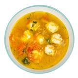 Sopa com cenoura, cebola, paprika e almôndegas Fotos de Stock Royalty Free