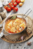 Sopa com couve e carne Imagens de Stock Royalty Free