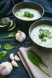 Sopa com espinafres, abobrinha e alho em uma tabela Fotografia de Stock