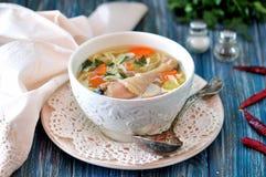 Sopa com macarronetes caseiros e a galinha orgânica com cenouras, raiz e folhas de varas da salsa, da cebola e de aipo Fotos de Stock