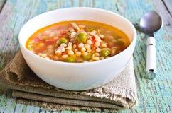 Sopa com massa, os vegetais e partes de carne pequenos Imagens de Stock