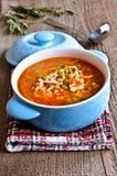 Sopa com massa, os vegetais e partes de carne pequenos Fotografia de Stock