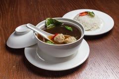 Sopa com meatballs Foto de Stock
