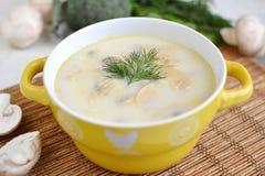 Sopa com queijo e cogumelos em uma placa amarela Fotos de Stock Royalty Free