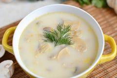 Sopa com queijo e cogumelos em uma placa amarela Imagens de Stock