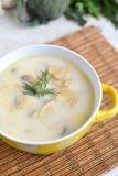 Sopa com queijo e cogumelos em uma placa amarela Foto de Stock Royalty Free
