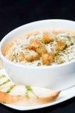 Sopa com queijo e fritos de pão Fotografia de Stock Royalty Free