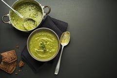 Sopa com vegetal e ervas Foto de Stock Royalty Free