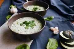 Sopa com zucchini e espinafre Foto de Stock