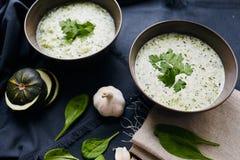 Sopa com zucchini e espinafre Foto de Stock Royalty Free