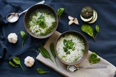Sopa com zucchini e espinafre Fotografia de Stock Royalty Free