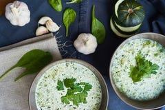 Sopa com zucchini e espinafre Fotos de Stock Royalty Free