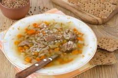 Sopa con carne de vaca y alforfón en una placa Imagenes de archivo