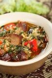 Sopa con la carne y el arroz imagenes de archivo