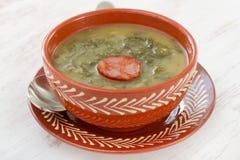 Sopa con la salchicha Fotografía de archivo libre de regalías