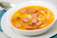 Sopa con la salchicha Foto de archivo libre de regalías