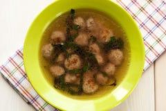 Sopa con las albóndigas Imagen de archivo