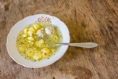 Sopa con las albóndigas Foto de archivo libre de regalías