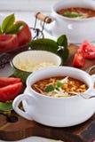 Sopa con las lentejas, las pastas y los tomates Imagenes de archivo