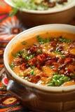 Sopa con las patatas y la pimienta Foto de archivo