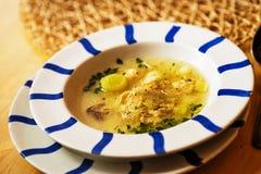 Sopa con los puerros y los huevos Fotografía de archivo libre de regalías