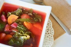 Sopa cor-de-rosa saboroso da couve da beterraba Imagem de Stock Royalty Free