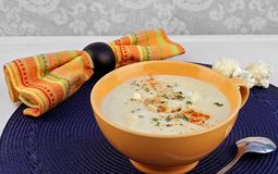 Sopa cremosa da couve-flor Imagens de Stock