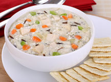 Sopa cremosa da galinha e do arroz Foto de Stock