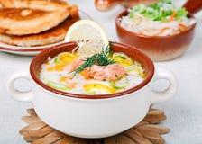 Sopa cremosa de los pescados Imagen de archivo