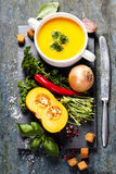 Sopa da abóbora com ingredientes frescos Imagens de Stock