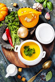 Sopa da abóbora com ingredientes frescos Foto de Stock