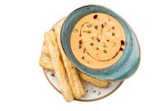 Sopa da abóbora com varas de pão Imagens de Stock