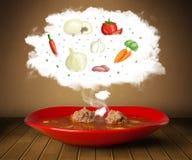 Sopa da bacia com ilustração vegetal dos ingredientes na nuvem Fotografia de Stock