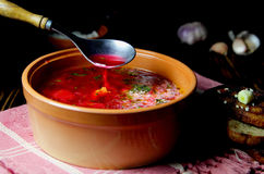 Sopa da beterraba com creme ácido Foto de Stock
