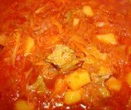 Sopa da carne, beterrabas, couve Foto de Stock Royalty Free