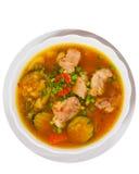 Sopa da carne com vegetais Vista superior Isolado Fotografia de Stock Royalty Free