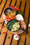 Sopa da carne no grande potenciômetro Fotografia de Stock Royalty Free