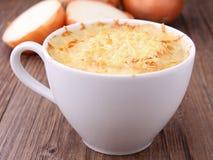 Sopa da cebola com queijo Fotografia de Stock