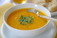 Sopa da cenoura & de lentilha Fotografia de Stock Royalty Free
