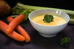 A sopa da cenoura com creme e a salsa decoram em uma bacia branca, crua Foto de Stock Royalty Free