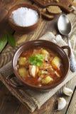 Sopa da couve com carne Fotos de Stock