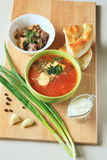 Sopa da couve com creme de leite, as cebolas verdes e o alho Fotos de Stock Royalty Free