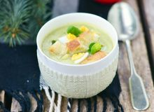 Sopa da couve-de-Bruxelas Imagem de Stock
