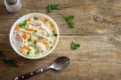 Sopa da galinha e do arroz selvagem Fotos de Stock Royalty Free