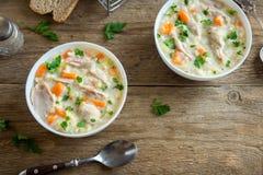 Sopa da galinha e do arroz selvagem Imagem de Stock Royalty Free
