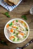 Sopa da galinha e do arroz selvagem Foto de Stock Royalty Free