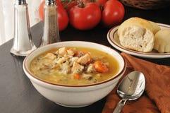 Sopa da galinha e do arroz selvagem Imagens de Stock