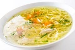 Sopa da galinha ou da carne com macarronetes cenoura e erva da salsa Imagem de Stock